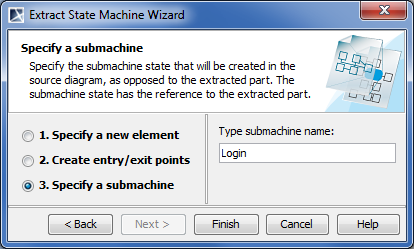 Extract State Machine Wizard. Specify a submachine