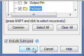 Include Subtypes check box