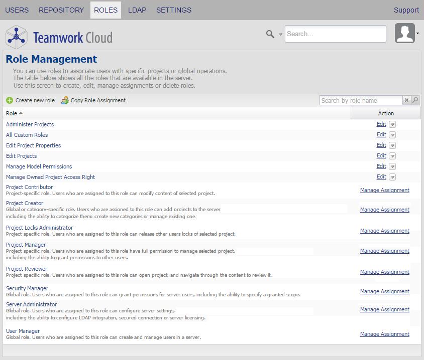 Role management page - Teamwork Cloud 18 5 SP3 - No Magic