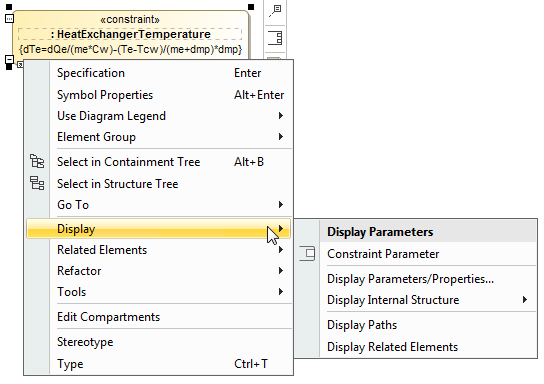 The Display command group menu allows to display Constraint Parameters of the selected Constraint Property shape.