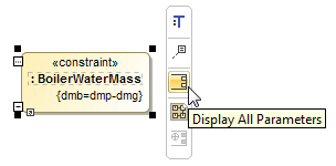 The Display All Parameters button on the smart manipulator toolbar of the Constraint Property shape typed by Boiler Water Mass Constraint Block.
