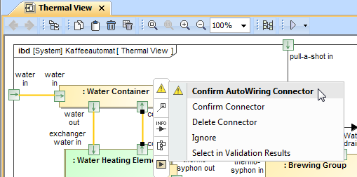 Confirming newly created Connector after Autowiring function when the Highlight new connection check box was selected in the Messages window.