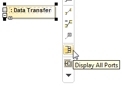 The Display All Ports button on the smart manipulator toolbar of the Part Property shape typed by Data Transfer Block.
