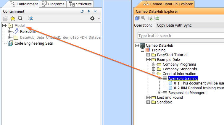 Mapping source and target types to copy data to and from a