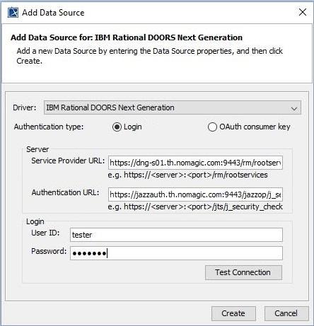 Adding IBM Rational DOORS Next Generation Data Sources