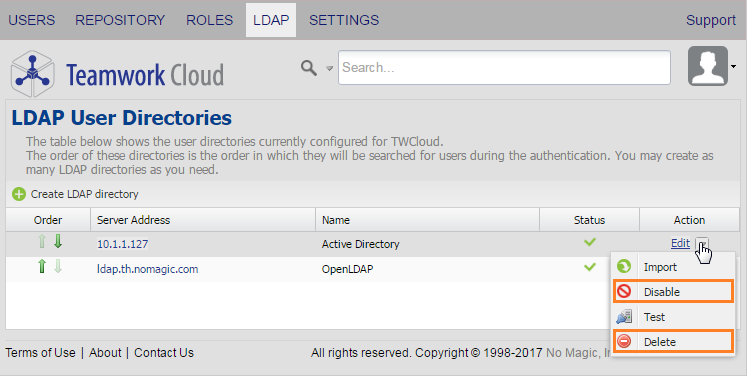 Disabling or deleting an LDAP server