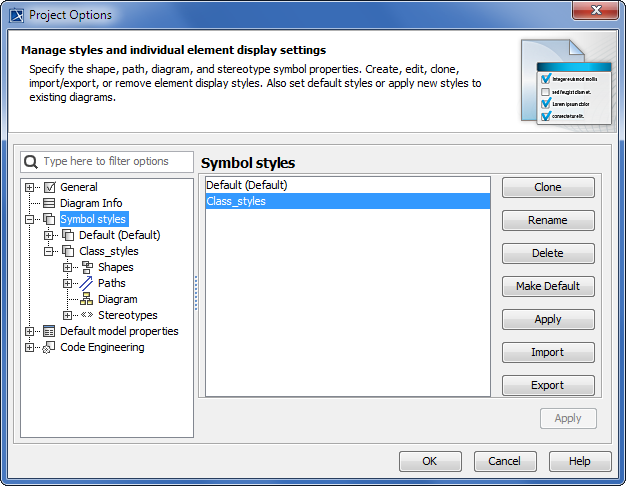 Project Options dialog. Default style of symbol properties
