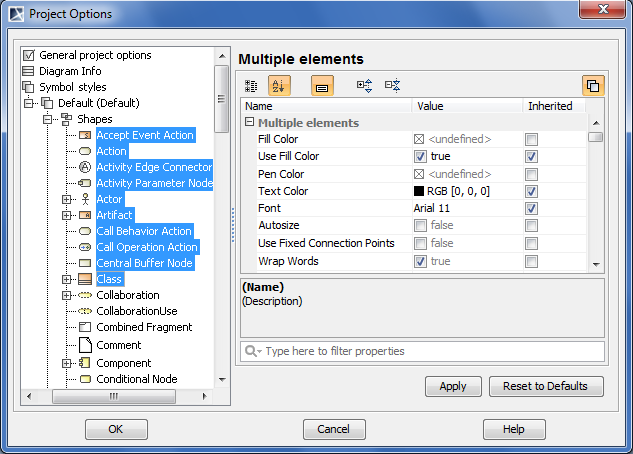 The Project Options dialog, multiple element symbols style is selected