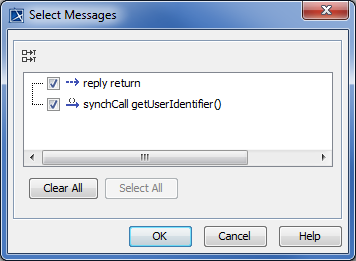 The Select Messages dialog.