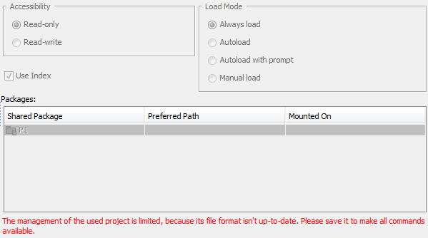 Used Projects dialog showing options of non-converted project usage in converted project