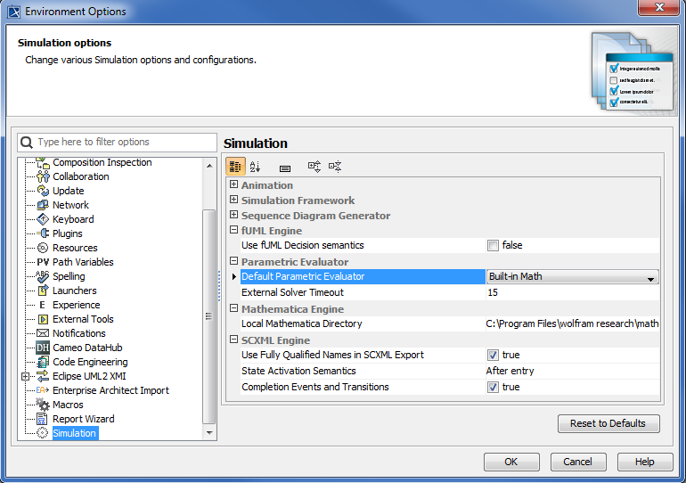 The Default Parametric Evaluator in the Environment Options Dialog