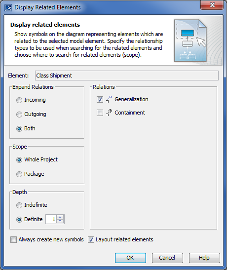 The Display Related Elements dialog of the Shipment Class.