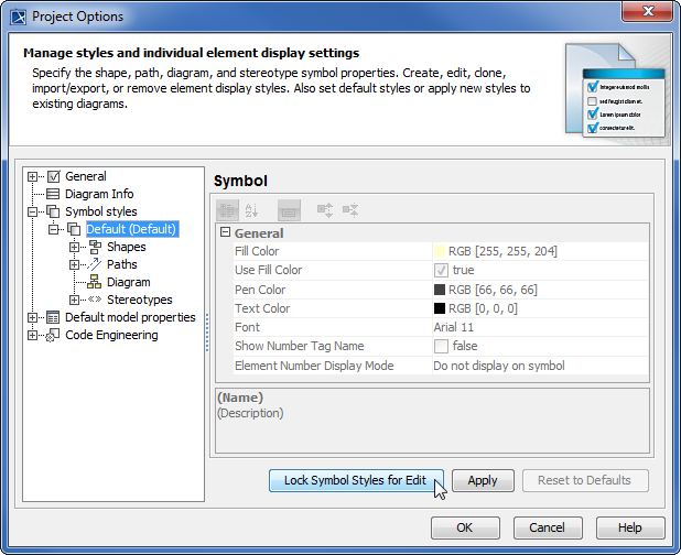 Locking symbol styles via the Project Options dialog