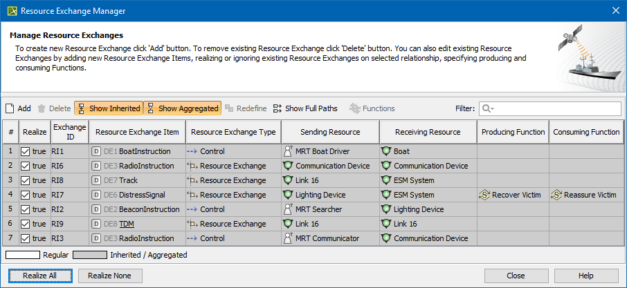 Resource Exchange Manager dialog