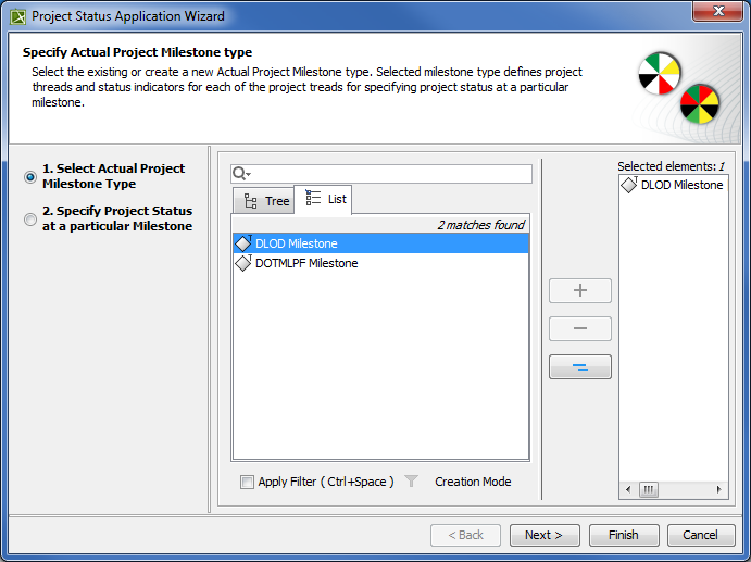 Selecting an Actual Project Milestone Type in Project Status Application Wizard