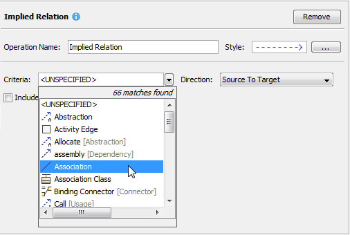 Specifying implied relation criteria