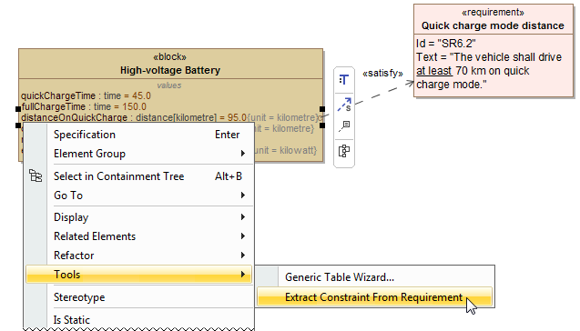 Creating the constraint directly from value property by using the Extract Constraint From Requirement command.