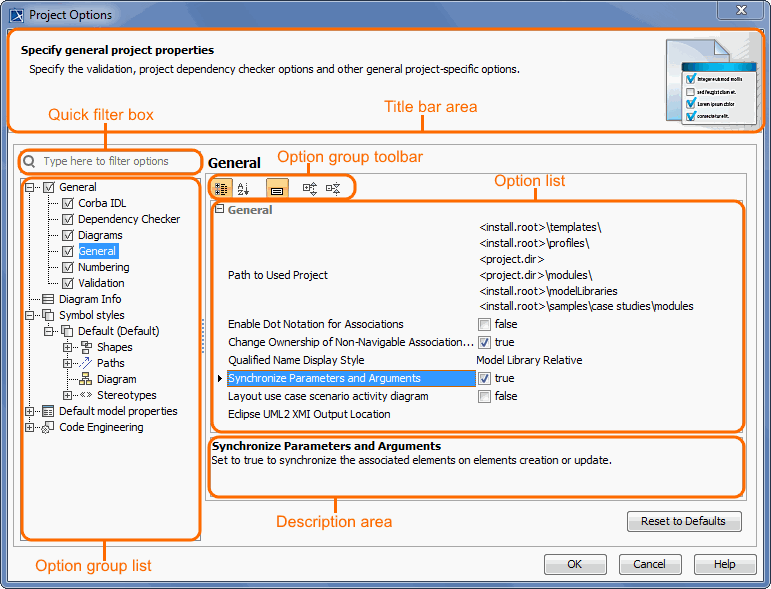 Structure of Project Options dialog