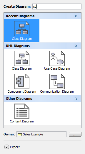 Create Diagram dialog