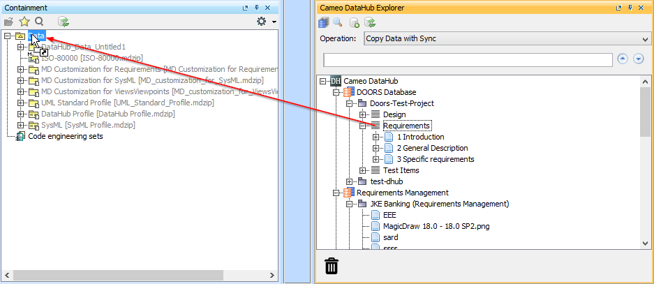 Drag and drop a source node to target in Copy Data with Sync operation mode  sc 1 st  No Magic Documentation & Copying requirements - Cameo DataHub 18.1 - No Magic Documentation