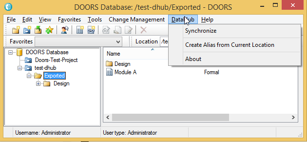 Once you have started the DOORS driver it will connect to DataHub automatically. The DataHub main menu provides some functions that you can perform with ...  sc 1 st  No Magic Documentation & Opening DataHub main menu in DOORS client - Cameo DataHub 18.1 - No ...