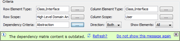 Notification to refresh dependency matrix after changing dependency criteria