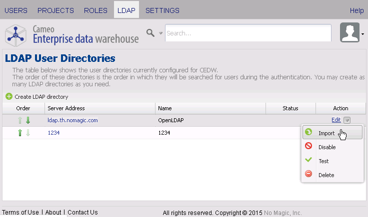 Importing users from an LDAP server - Cameo Enterprise Data