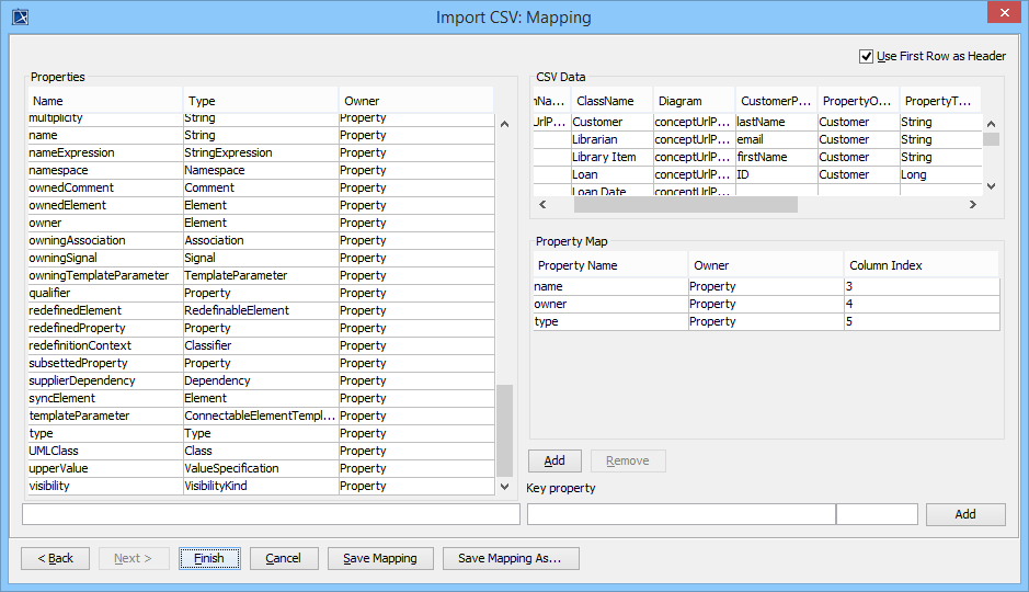 Importing properties to a class diagram csv import plugin 183 mapping csv columns to properties ccuart Choice Image