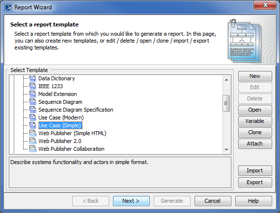 Selecting The Use Case Template In The Report Wizard Dialog.
